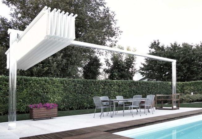 ombrellone pergola piscina giardino scorrevole pacchetto policarbonato